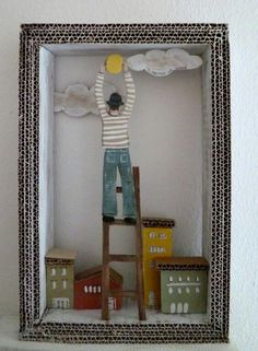 by Angela Fattori. I like that she left the cardboard edge exposed. Shadow Box Kunst, Shadow Box Art, Diy And Crafts, Arts And Crafts, Paper Crafts, 3d Cuts, Diy For Kids, Crafts For Kids, Cardboard Art