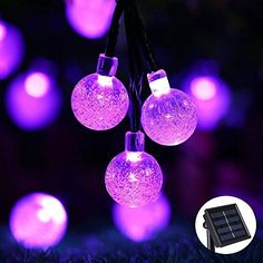 Icicle Crystal Solar String Lights, 20ft 30 LED Waterproof Outdoor Globe Fairy Lighting for Indoor/Outdoor, Christmas, Home, Patio, Lawn, Garden, Wedding, Party, and Holiday Decorations (Purple)
