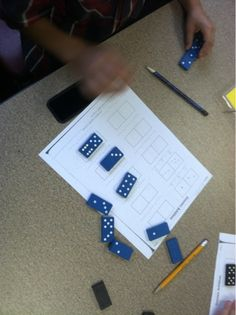 Adventures of First Grade: Pull a domino, copy the dots, write the number sentence! Use for addition or subtraction ( part part whole)!