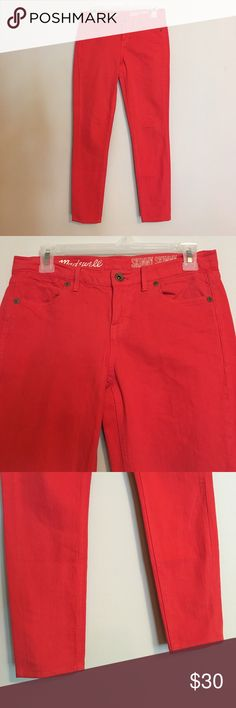 "Madewell Skinny Cropped Ankle Coral Denim Jeans Madewell's Skinny Skinny cropped ankle jeans are super slim and stretchy for a very comfortable fit, mid 8"" rise in an extra-special bright coral color you won't find anywhere else.   In excellent preloved condition! Last photo shows style fit- not actual jeans. Inseam 27"" Waist Flat 14"" Madewell Jeans Ankle & Cropped"