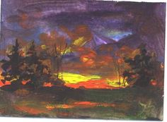 ACEO  Autumn Sunset  landscape painting by Jim by jimsmeltzgallery, $15.00
