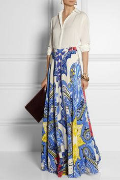 ETRO Printed silk-crepe maxi skirt
