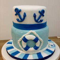 Sailor theme cake Sailor Cake, Sailor Theme, Theme Cakes, Buttercream Cake, Cake Creations, Cakes And More, Baby Shower Cakes, Cake Smash, Fondant