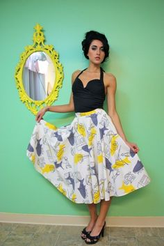 Vintage circle skirt with shark print over line drawings - from stitchsavesnine on etsy (40 dollars)