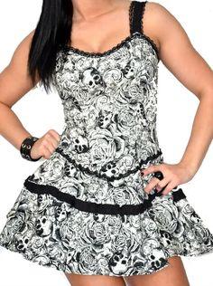 LDS Pin Up Gothic Rockabilly Tattoo Emo Goth Rock Sexy Skull Roses Dress DR1287 | eBay