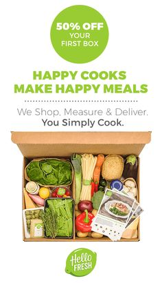 Make the kitchen your new happy place with Hello Fresh. Choose what looks delicious from our ever-changing weekly menu. Find mouthwatering meat, fish and veggie recipes – Rustic Beef Ragu, Wasabi Lime Salmon and Spring Greens Gnocchi – to name a few. Boxes arrive weekly at your doorstep at the time and day of your choosing (Mon-Sat). Get cooking at hellofresh.com.