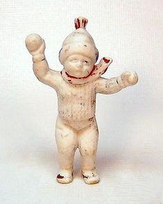 "antique bisque snow baby boy throwing a snowball  2-1/2"" high"