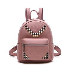 2016 Moda bolsos de mujer online outlet mochilas de cuero con remaches para jóvenes
