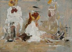 Eugène BOUDIN (1824-1898), Sur la plage, 1890-1895, huile sur bois, 13 x 18 cm. © MuMa Le Havre / Florian Kleinefenn