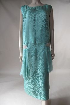 1920's evening dress in vibrant turquoise blue silk damask faille with white beaded appliques by monique