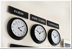 Decorating-with-clocks-and-City-names  how to make city signs (San Antonio, San Jose, Pittsburgh)