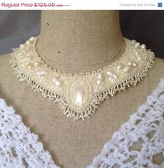 ON SALE Pearl Cabachon Bead Embroidered Collar by bjswearableart, $75.00