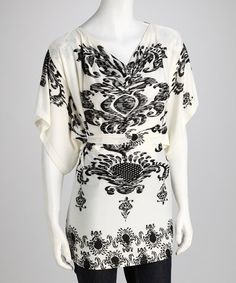 Take a look at this Cream & Black Paisley Tunic by Young Threads on #zulily today!