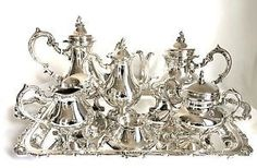 CAMUSSO STERLING SILVER**10 PIECE TEA/COFFEE SERVICE SET**STERLING TRAY**MINT in Antiques, Silver, Sterling Silver (.925), Tea/Coffee Pots & Sets | eBay