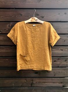 ce0bdd274b6 Loose linen blouse top women, loose blouse with pocket, pure linen blouse  stonewashed, oversize top, mustard color top