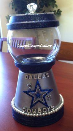Dallas Cowbowys, Sports,Candy Jar, Bank, Cookie Jar Decanter, Gumball Machine, Terrarium, Fish Bowl, Sports
