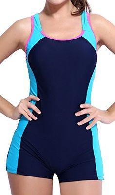 BeautyIn Women's One Piece Swimsuits Boyleg Sports Swimwear #deals