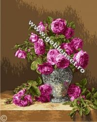 Rosas em vaso de prata! Para bordar