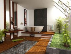 I don't know how practical these things are, but I love the idea of an indoor - outdoor bathroom...with enough privacy of course!!    In this image, I love the use of natural wood, bamboo and river stones to really add a sense of nature within the interior space
