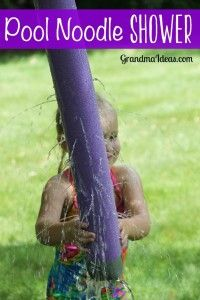 An easy to make pool noodle shower will entertain kids for a long time on a hot summer day.