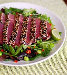 The Enchanted Cook: Spicy Seared Ahi Tuna Salad with Sesame Ginger Dressing(Mix Chicks Gluten Free) Ahi Tuna Steak Recipe, Tuna Steak Recipes, Tuna Steaks, Fish Recipes, Seafood Recipes, Salad Recipes, Cooking Recipes, Healthy Recipes, Cooking Tuna