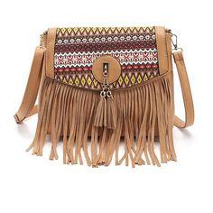 Fringe tassel Fall bag ($32) ❤ liked on Polyvore featuring bags, handbags, beige handbags, tassel purse, tassel bag, beige bag and tassel handbag