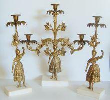Set of Elegant Antique 19c Victorian Aesthetic Eastlake Brass Girandoles Candelabra Candlesticks Candle Sticks Holders