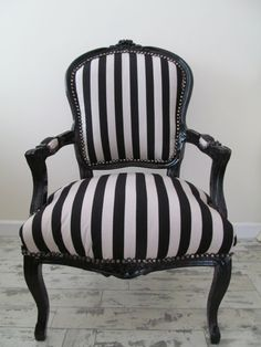 Black & White stripe upholstered Louis chair with and gloss black frame.    More Colours Available    Measures W65cm (25.5) x H95cm (37) x D65cm (25.5)