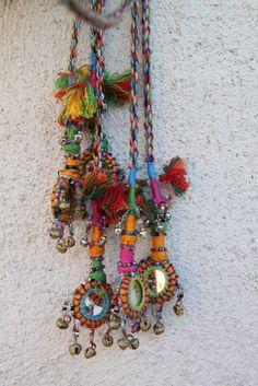 Camel Swag (Small) / Multi-Colored Mirrored, Bells Camel Pom Pom, Tassel, Decoration /Boho, Gypsy Fashion Design, Decorating Supplies / Long