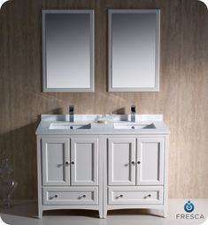 Fresca Oxford 48 Antique White Double Sink Bathroom Vanity w Mirrors & Faucets