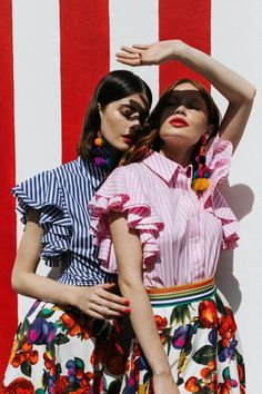 "The Spring / Summer 19 ""Tutti Frutti"" collection by Lena Hoschek! Tutti Frutti, Candy Stripes, Pink Stripes, Skirt Mini, Ribbon Skirts, Cotton Lights, Pink Candy, Cotton Blouses, Blue Blouse"