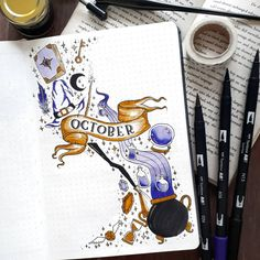 Hoping that this theme will make October more magical ✨ October bujo setup ins. - Hoping that this theme will make October more magical ✨ October bujo setup inspired by Planner Bullet Journal, Bullet Journal Cover Page, Bullet Journal Notes, Bullet Journal Spread, Bullet Journal Ideas Pages, Bullet Journal Layout, Journal Covers, Bullet Journal Inspiration, Bullet Journal October Theme