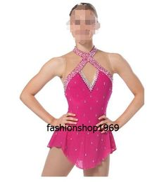 New pink Elegance Ice Figure  skating dress  dance dress for competition xx44 #Unbranded