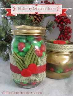 Holiday Mason Jars by A Little Claireification #crafts #Holiday #Christmas AlittleClare
