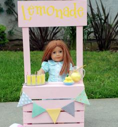Lemonade Stand for Am Girl Dolls Tutorial - iCandy handmade american girl diy crafts home made - Diy Crafts For Home American Girl Parties, American Girl Crafts, American Dolls, American Girl House, Diy Crafts For Girls, Diy Home Crafts, Summer Crafts, Diy For Teens, Ag Dolls