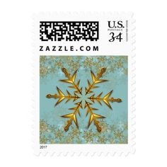 Gold Snowflakes Holiday Postage