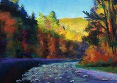 """Autumn Color, Vermont"" pastel by Takeyce Walter http://takeyceart.com #pastel #art #takeyce #artwork #vermont #framed #stream #jamaicavt"