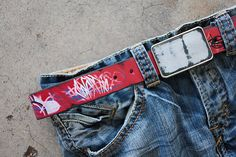 Red Graffiti Belt and Painted Leather Belt Buckle by by fosterweld, $40.00
