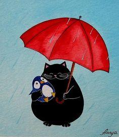 Chibi penguin with monocle, cigarette, black and white hypno umbrella, big rubber ducky, sharp teeth, cute but dark and creepy