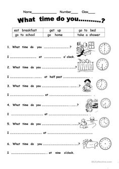 What time do you? - English ESL Worksheets for distance learning and physical classrooms English Primary School, Kids English, English Study, English Lessons, English Words, Teaching English, Learn English, English Worksheets For Kids, English Activities