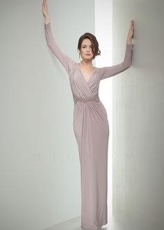 Mignon - VM1085 - Fall Dresses 2014, Formal Evening Dresses - Floor length gown featuring a ruched surplice V-neck bodice, long sleeves and bead embellished waist.