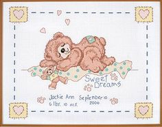 SWEET DREAMS ON CLOUD NINE! Our little teddy napper tuckered out from hours of play, drifts off to the Land of Nod while little bear announces the birth of a newborn. Decorate nursery with this brightly Counted Cross Stitch birth announcement by ©Linda Gillum for Kooler Design Studio. A free Gift card and envelope included for gift purposes.