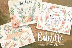 BUNDLE! Watercolor florals by GrafikBoutique on Creative Market
