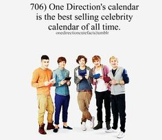 One Direction's calendar is the best selling celebrity calender of all time.