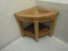 Premium Teak Corner Shower Bench With Shelf, Shower, Spa Seat #ParadiseTeak