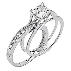 Wedding Rings For Women Princess Cut - 14K White Gold High Poliosh Finish Princess cut Ring - Wedding ...