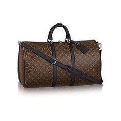 Keepall Bandoulière 55 Monogram Macassar Canvas ($1,595) ❤ liked on Polyvore featuring bags, double zip bag, brown canvas bag, monogrammed bags, brown bag and canvas bag