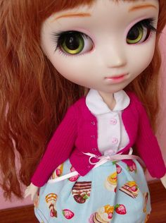 Sweet Lolita set for Pullip / Momoko by SquishTish on Etsy, One can never get enough of sweet things! ♥ #Doll #Pullip #Momoko #Blythe #JDoll #Obitsu #Clothes #Skirt #Cardigan #Lolita #Sweet