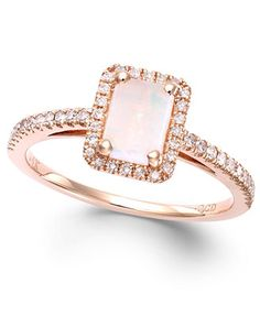 Opal (1/2 ct. t.w.) and Diamond (1/5 ct. t.w.) Ring in 14k Rose Gold