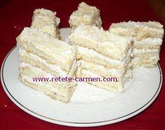 Raffaello cu foi de dobos Romanian Desserts, Vanilla Cake, Cooking Recipes, Sweets, Candy, Cheese, Cookies, Food, Bar